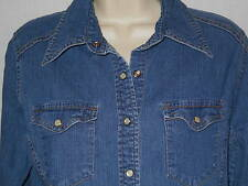 Denim Western Blouse Shirt MED Womens 8-10 Cowgirl Top Stretch Little Hawk 6w5