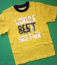 "NEW! ""WORLDS BEST BROTHER"" Graphic Big Boys Shirt 7 OshKosh Gift! Yellow SS $14"