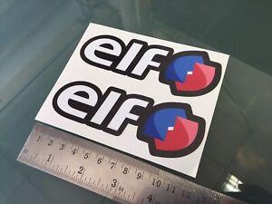 ELF Fuel / Oil Logo Motorcycle Sponsor Fairing Decals Stickers (120mm x 45mm) X2
