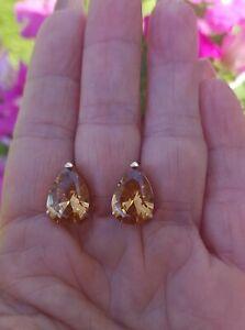 Pear Cut Imperial Topaz Lever Back Earrings,  18KRG/Silver