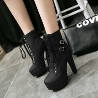 Fashion Women Punk Buckle High Heels Chunky Lace Up Platform Ankle Boot Shoes xi