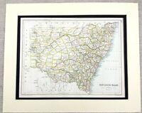 1899 Antik Map Of Neu South Wales Australia Alte 19th Jahrhundert Original
