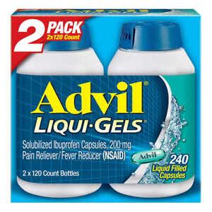Advil Liqui-Gels Ibuprofen 200 mg Pain Reliever/Fever Reducer, 240 Capsules 4/23