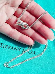 Tiffany & Co Sterling Silver Elsa Peretti Infinity Pendant Double Chain Necklace