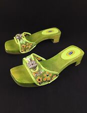 Dr Scholls Wood Sandals Slides Rhinestones Green Flowers Women's Sz 7 Brazil
