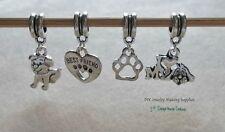 Dog Charms Love my Dog Euro Bead Large Hole Charm Dangles for European Bracelets