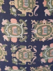 Vintage Remploy Jacobean Wall Covering Fabric Wallpaper  Blue - 20m x 137cm