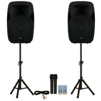 "Acoustic Audio AA15BS Powered 15"" Bluetooth Speakers with Batteries Mics Stands"