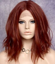 Full Lace Front Wig Wavy Copper red Heat OK Hair Piece Full WBHI 130