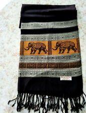 Thai Silk Pashmina Scarf Woven Scarves Shawls Women Elephant New Black-Gold