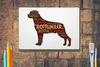 Rottweiler Word Art Rottie Canvas A4A3A2A1 Mothers Day Gift Personalised Option