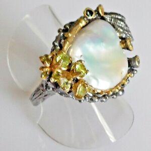 Unikat Barockperle Silber Ring Muschel 925 Black Rhodium Gold 17,8 mm 56