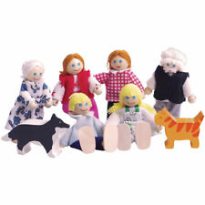 More details for bigjigs toys heritage playset wooden doll family figure house accessories set