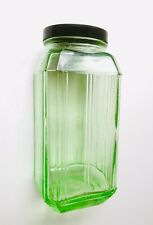 Vintage Aust Art Deco 1930s Green Depression Glass Kitchen Jar Bakelite Lid 20cm