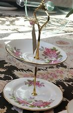 Vintage (1959) Two Tear Gold Gilded Queen Anne Bone China Cake/Trinket Stand