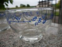 Vintage Clear Blue Glass Dessert Bowls Set Of Six Flower Leaf Pattern Federal