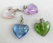 Glass Heart Pendant with Crystal Detail and Thong Necklace - assorted colours