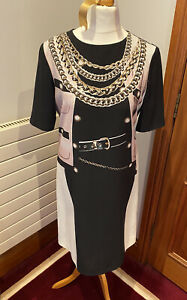 Moschino Cheap & Chic Shift Dress With Printed Detail Fully Lined Size 8/10 VGC