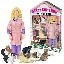 Crazy Cat Lady Action Figure Toy 6 Cats Lover Kittens Women Novelty Item Gift