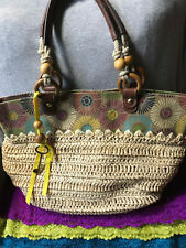 Fossil Vintage  Canvas Multi Floral Natural  Straw Leather Trim Snap Hobo Tote