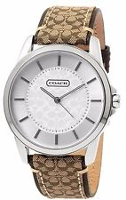 NEW COACH STAINLESS STEEL BROWN CLASSIC LOGO SIGNATURE WATCH 14601506