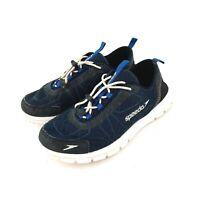 Speedo Mens Hybrid Watercross Water Land Shoes sz 8 Bungee Lace Blue Black 10749