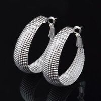 "Unique & Elegant Pure 925 Sterling Silver Big Hoop 1.5"" Fashion Earrings"