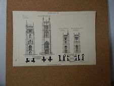 Antique Architects print Somerset Church Towers Building News 1887