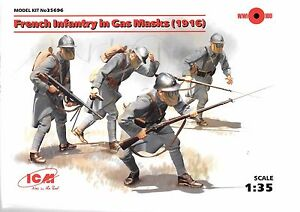 ICM French Infantry (1916) In Gas Masks, WWI Figures in 1/35 696 ST