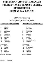 Birmingham U18 v Man Utd U18 18/9/2021, U18 PL Cup, Unofficial Team Sheet