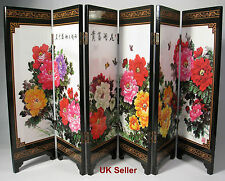 Desk decorative chinese peonies flowers 6 panel folding screen
