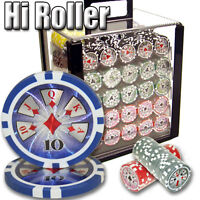 NEW 1000 High Roller 14 Gram Clay Poker Chips Set Acrylic Carrier Case Pick Chip