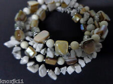 NEW Sonoma White Stone & Mother Of Pearl BRACELET Memory Wire Multi Strand NWT