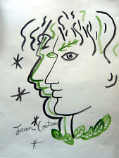 J. Cocteau Signed watercolor on paper - Profiles Entrelacés aux Etoiles - COA