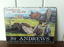 RETRO METAL SIGN 'ST ANDREWS THE HOME OF THE ROYAL ANCIENT GAME' GIFT GOLFERS