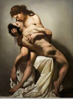 LMOP1208 100% hand paint naked girl man lover kissing art oil painting on canvas