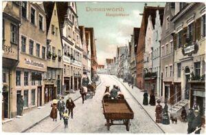 Donauwörth, Reichstraße m. Gasthaus zur Glocke u. Fuhrwerken, 1904 gebr. Farb-AK