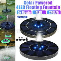 LED Light Solar Powered Water Feature Pump Garden Pool Pond Aquarium Fountain