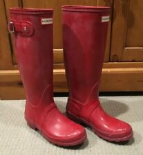 Hunter Original Tall Womens Military Red Rubber Rain Boots Size US 6/EUR 37/UK 4