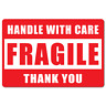 HANDLE WITH CARE FRAGILE - Labels / Stickers 50 mm x 75 mm Red and White