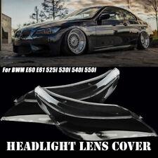 Headlight Headlamp Lens Cover Clear Left+Right For BMW E60 E61 5Series 525i 530i