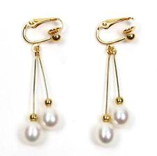 AAA Genuine White Pearl 18K YGP Double Dangle Clip On Earrings
