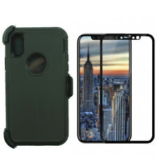 Black For iPhone X (iPhone 10) Defender Case w/Screen &(Clip Fits Otterbox)