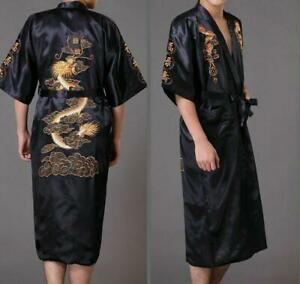 Men's Silk/Satin Japanese Chinese Kimono Dressing Gown Bath Robe Nightwear 2020