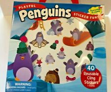 40+ penguin reusable Stickers with play scene Party Favors Teacher Supply car