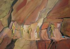 SEDONA, ARIZONA ARTIST JAN SITTS OIL PAINTING of PICTOGRAPH, 30 x 15 inches