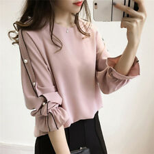 Women Fashion Chiffon Shirt Female Beaded Tops Solid Color Long Sleeve BlouseM&O