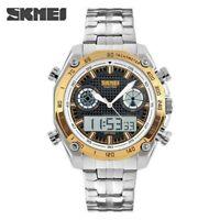 Men Sports Fashion Dress Digital Dual Time Display Bracelet Watch LED Alarm Date