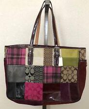 Coach Leather Suede Monogram Canvas Large Patchwork Tote Handbag Purse GO4Q-1437