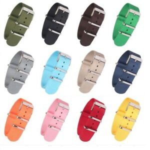 New Strong Solid color 18 20 22mm Nylon Watch Strap Band Fabric Watchband Buckle